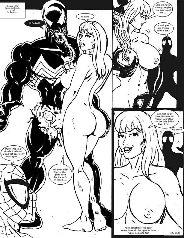 symbiote of characters man shadows web spider Punk girl sun and moon